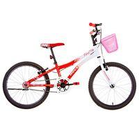 BicicletaAro20NinaBrancaeVermelhoHouston