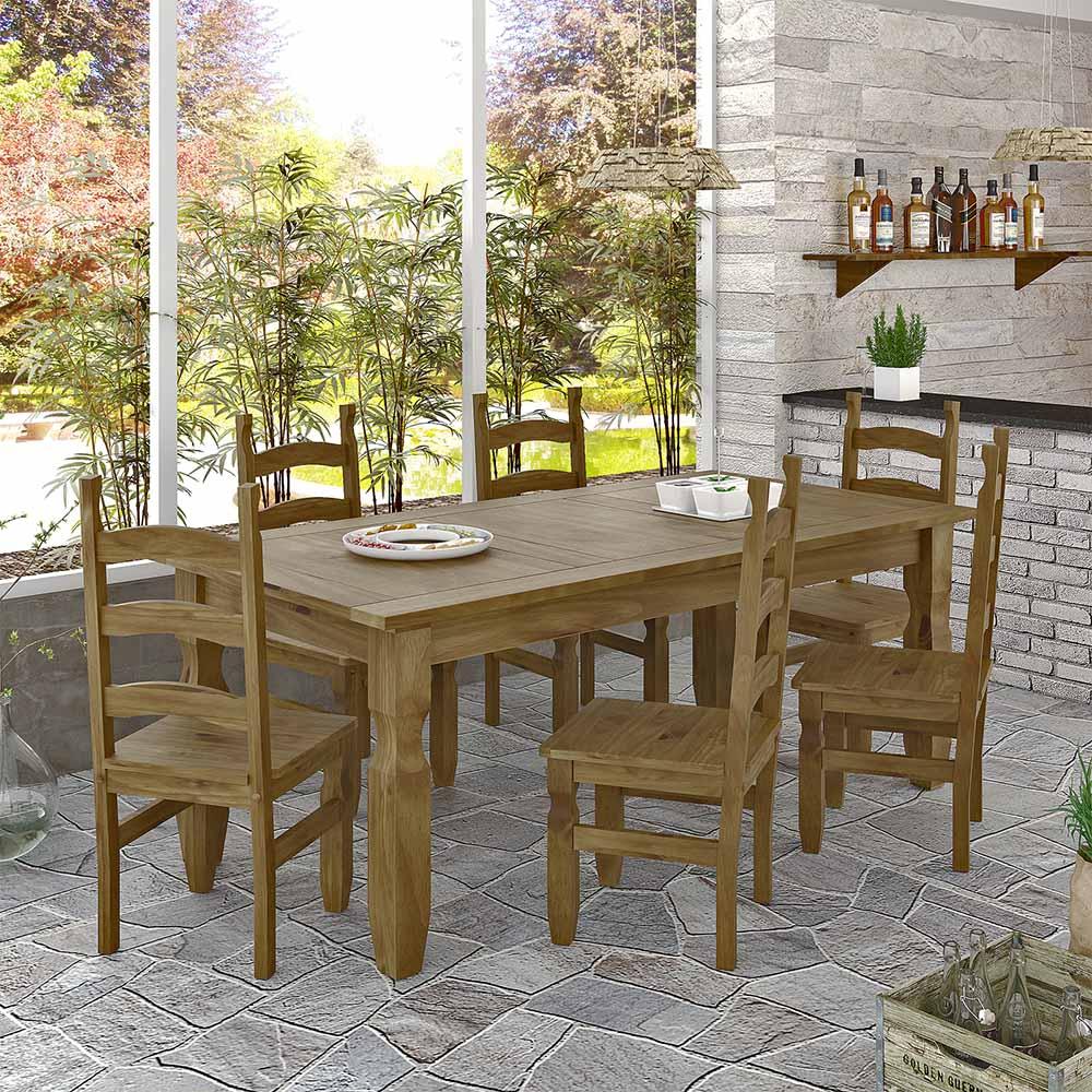 Conjunto Mesa 1 82m E 6 Cadeiras R Stico Corona Ideal P Area