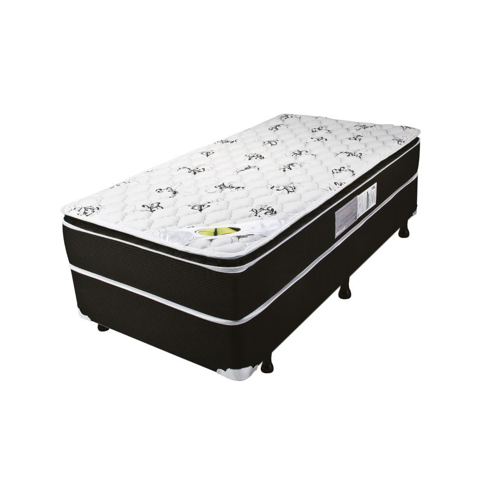 f4071a4877 Cama Box Solteiro Aspen Molas Ensacadas com Pillow Top - Tecido Malha Bambu  - 88x188x67 - Novo Mundo