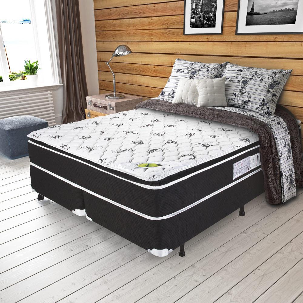 3361e0b3ad Cama Box Queen Size Aspen Molas Ensacadas com Pillow Top - Tecido Malha  Bambu - 158x198x67 - Novo Mundo