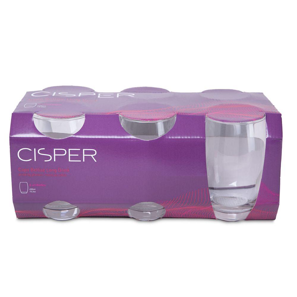 Jogo de Copos Bellize 450ml Long Drink 6 peças - Cisper - Novo Mundo a6e9e317523ca