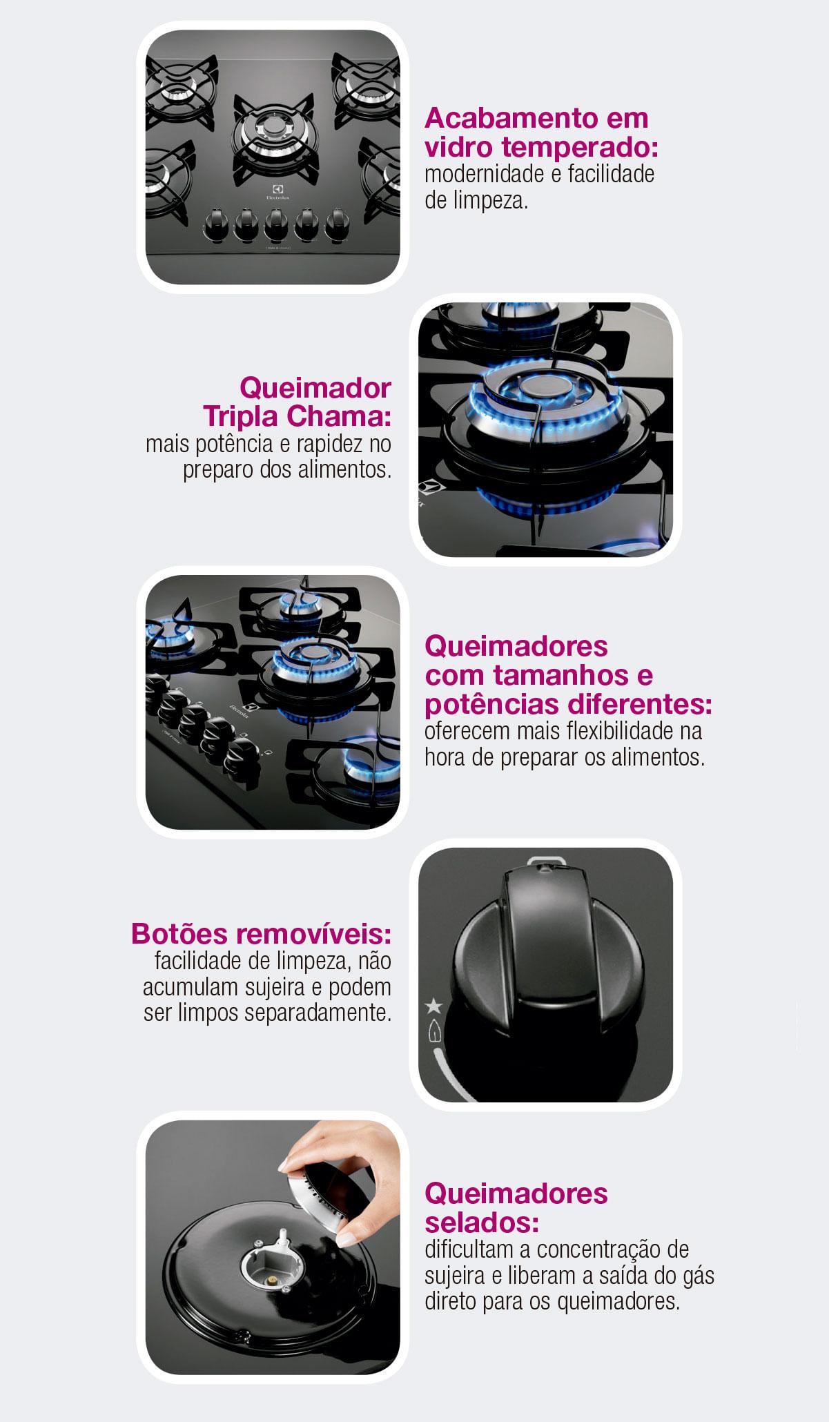 Características Cooktop Electrolux GC75V