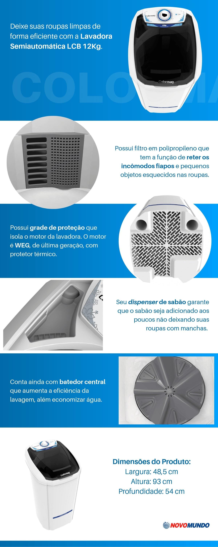 Tanquinho Colormaq 12kg, 5 Programas, Dispenser de Sabão - LCB12