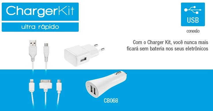Kit de Carregador 3 Em 1 Micro USB/ Iphone 4/ Iphone5 Multilaser