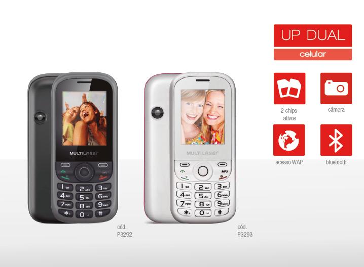 Celular Multilaser Up 2 chips com câmera Bluetooth   MP3  P3293
