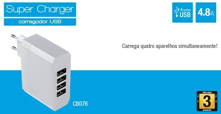 Carregador USB de Parede Multilaser, 4 Portas, Portátil
