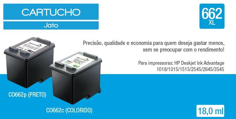 Cartucho Jato comp. P/Hp Mod. 662 Preto