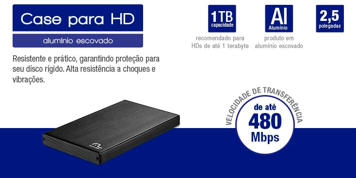 Case Hd Multilaser 2.5Pol Aluminio USB 2.0