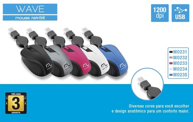 Mouse Óptico Retrátil 1200dpi USB Cinza MO232 Multilaser
