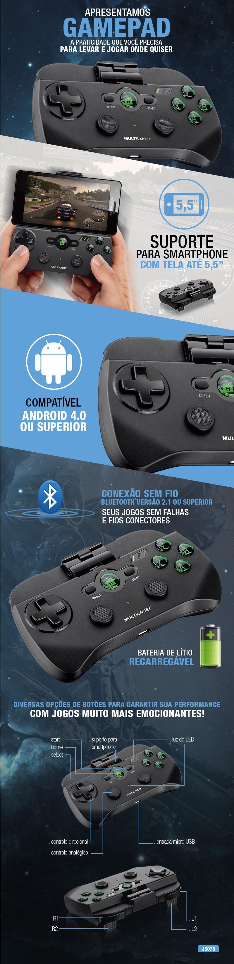 Controle Sem Fio Multilaser para Jogos de Smartphone
