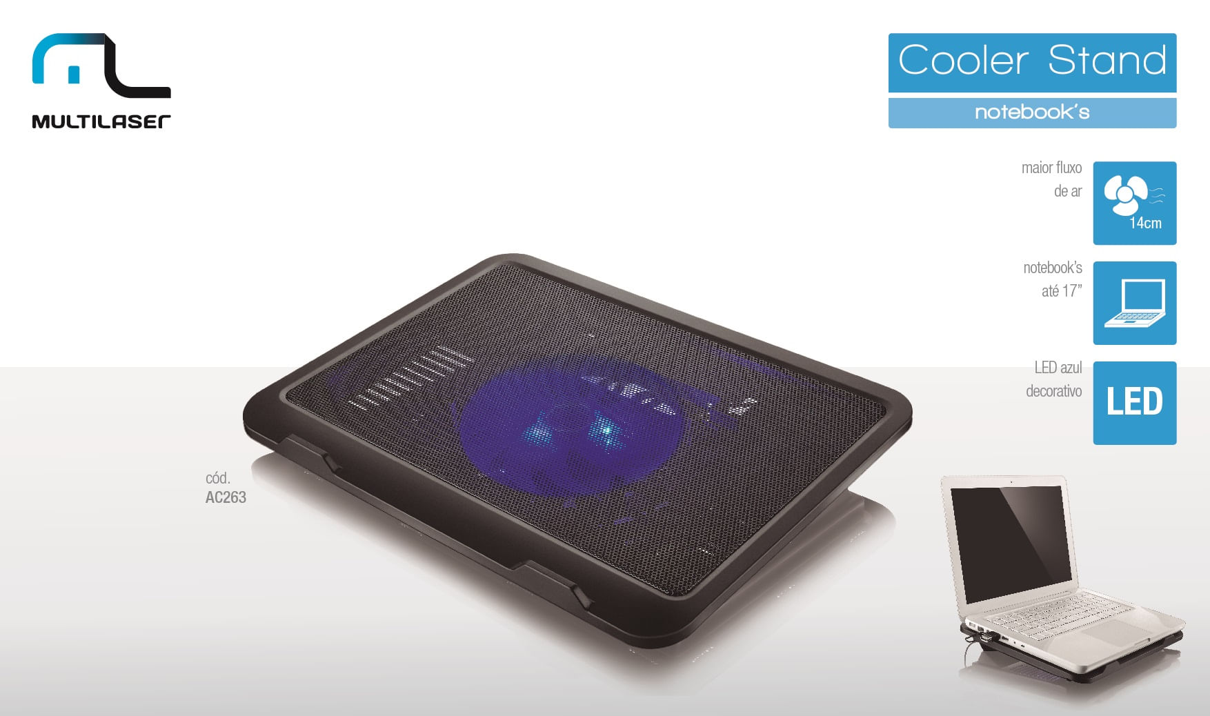 Cooler Multilaser para Notebook Slim com LED