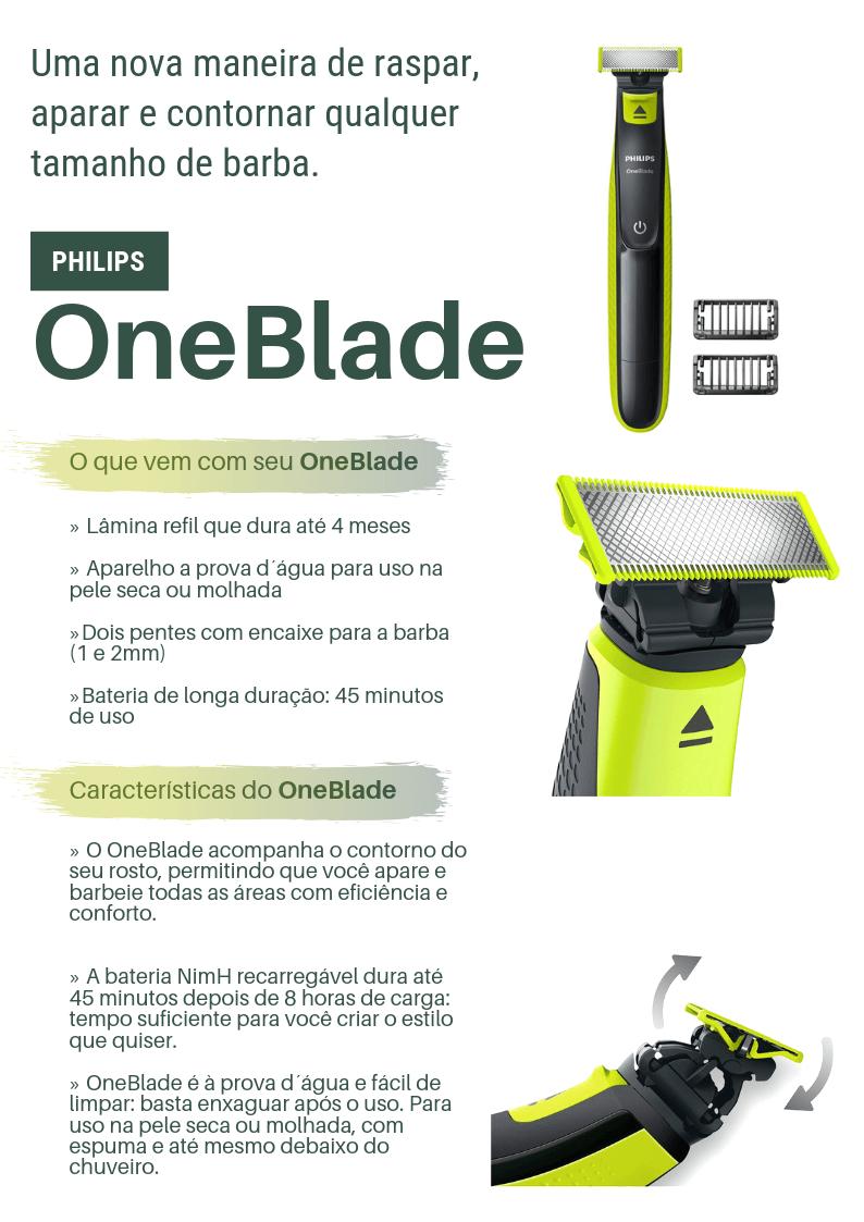 Barbeador Philips Hibrido One Blade, 2 Pentes, Uso Seco e Molhado, Recarregável - QP2521/10 - Bivolt