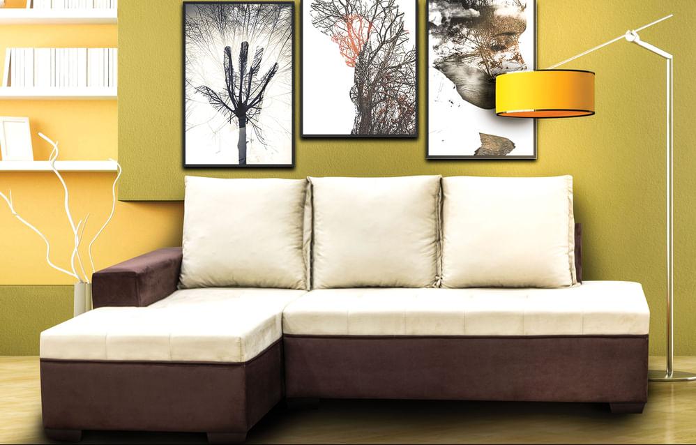 Sofá Com Chaise tecido sued