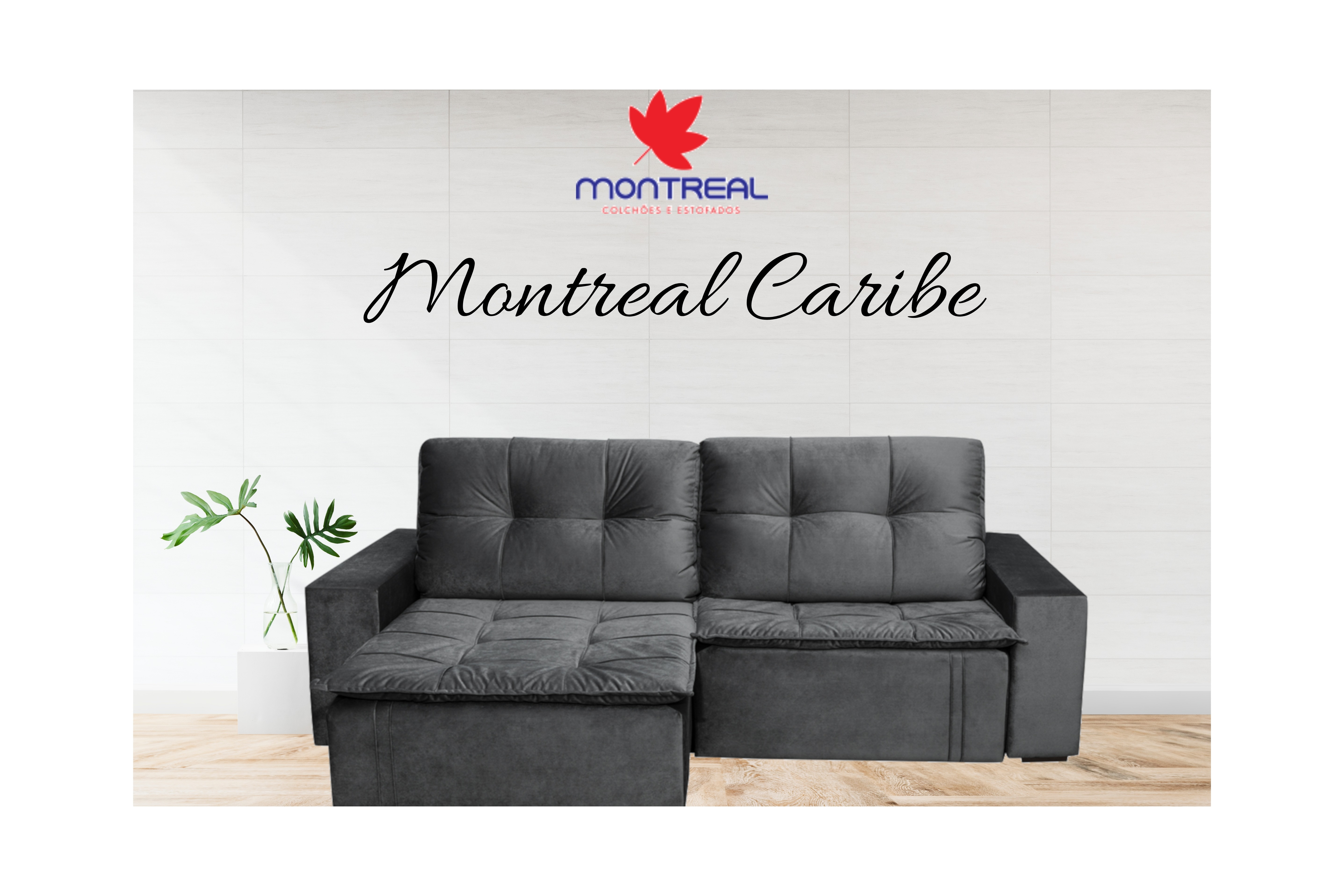 Sofá Montreal Caribe retrátil e reclinável