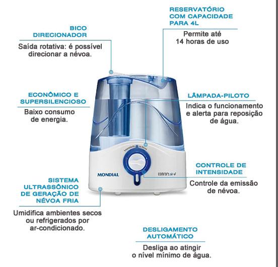 Umidificador Mondial 4 Litros